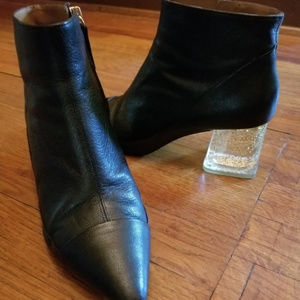 Zara Woman black leather booties, glitter heel